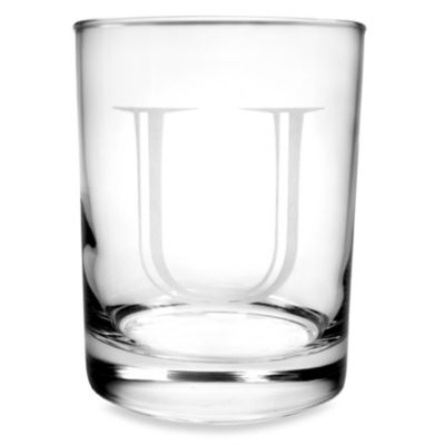 "Monogrammed Letter ""U"" Double Old Fashioneds (Set of 4)"