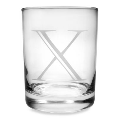"Monogrammed Letter ""X"" Double Old Fashioneds (Set of 4)"