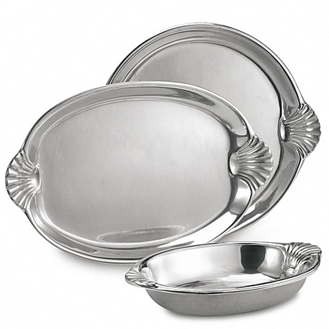 Wilton Armetale® Scallop Handle 16-1/2-Inch Oval Tray