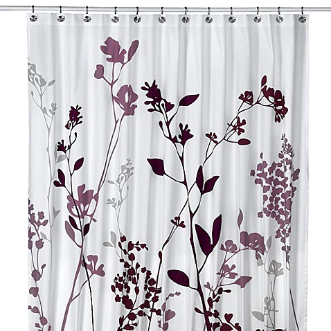 White Faux Silk Curtains Purple Sequins Shower Curtain