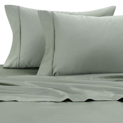 300 Cotton Sateen Standard Pillowcases in Green (Set of 2)