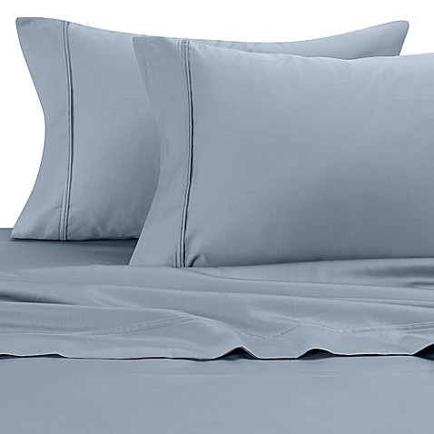 300 Cotton Sateen King Sheet Set in Blue