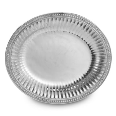 Wilton Armetale® Flutes and Pearls 14 3/4-Inch Oval Tray