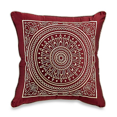 Vittorio Red Square Toss Pillow - Bed Bath & Beyond