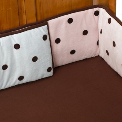TL Care® Dot Crib Bumpers in Espresso/Pink
