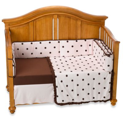 TL Care® Espresso Polka Dot 4-Piece Crib Bedding Set in Pink