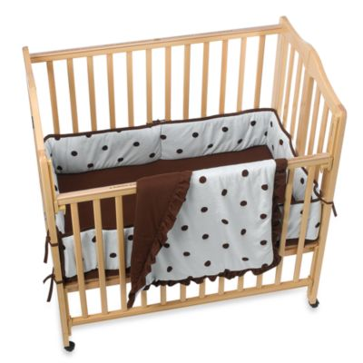 Crib Bedding Sets > TL Care® Espresso Polka Dot 3-Piece Mini Crib Bedding Set - Blue