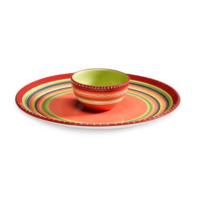 Certified International Hot Tamale Ceramic Chip and Dip