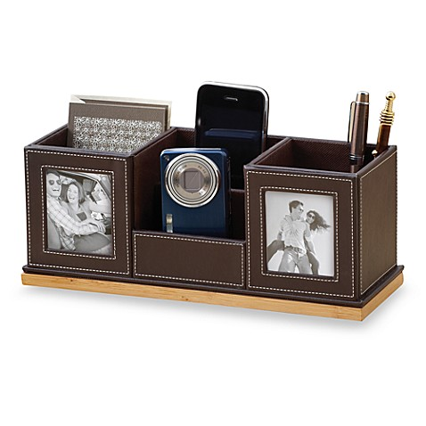 Bamboo and faux leather deluxe desk organizer bed bath - Faux leather desk organizer ...