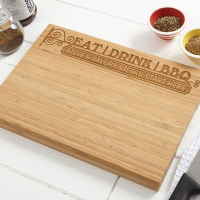 Eat, Drink & BBQ 10-Inch x 14-Inch Bamboo Cutting Board