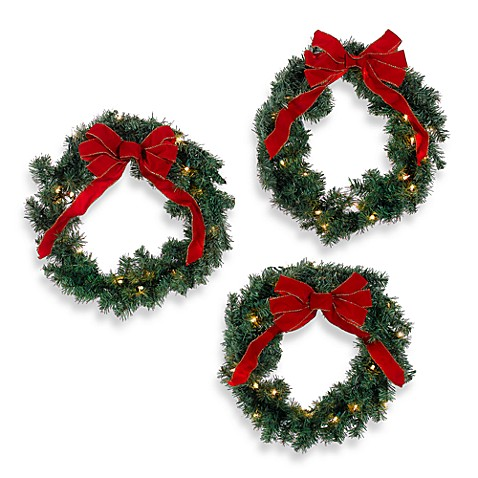 Indoor/Outdoor 22-Inch Pre-Lit Holiday Wreaths (Set of 3)