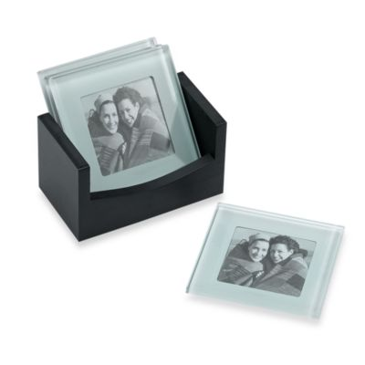 Glass Photo Holder Coasters with Wood Caddy (Set of 4)
