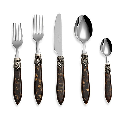 Euro Ceramica Laura 5-Piece Flatware Place Setting in Brown