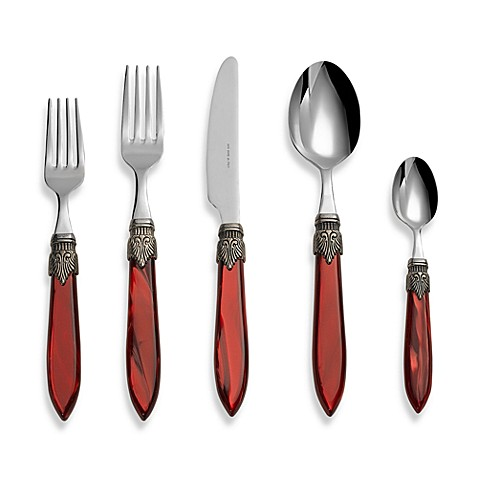 Euro Ceramica Laura 5-Piece Flatware Place Setting in Bordeaux