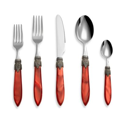 Euro Ceramica Laura 5-Piece Flatware Place Setting in Red