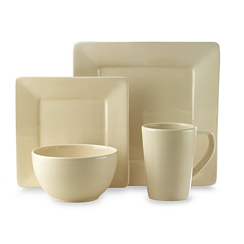 Misto Square 4-Piece Dinnerware Set in Linen