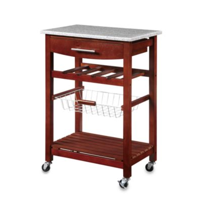 Granite Rolling Kitchen Cart in Espresso