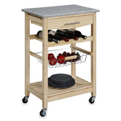 Granite Rolling Kitchen Cart in Natural