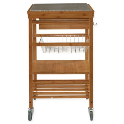 Linon Home Granite Bamboo Rolling Kitchen Cart