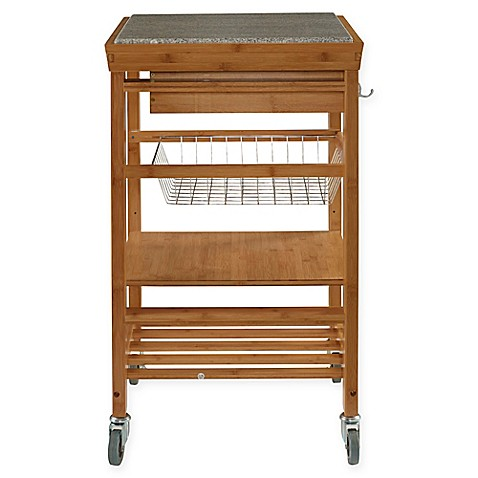 Granite bamboo rolling kitchen cart bed bath beyond - Bed bath beyond kitchen ...