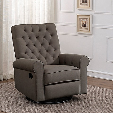 Pulaski Traditional Rolled Arm Recliner Swivel Glider in Fresh Pewter