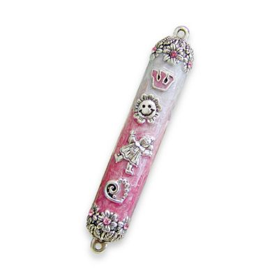 New Baby Mezuzah in Pink