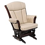 Dutailier® Multiposition Reclining Sleigh Glider in Joseph Beige Fabric/Cherry Wood