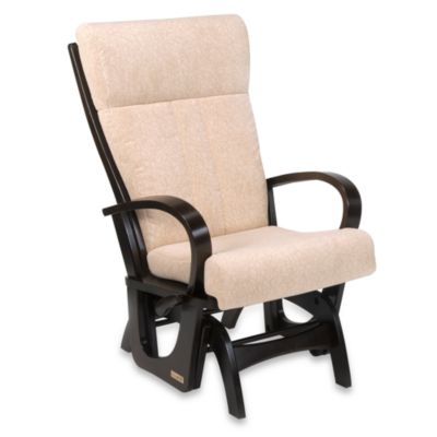 Dutailier® Matrix Too Glider with Round Arms in Curly Bone Fabric/Espresso Wood