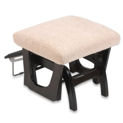 Dutailier® Ottoman in Curly Bone Fabric/Espresso Wood