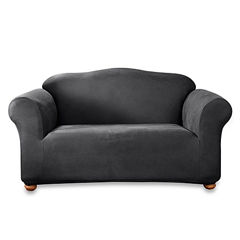 Stretch Leather Black Loveseat T Cushion Slipcover Bed Bath Beyond