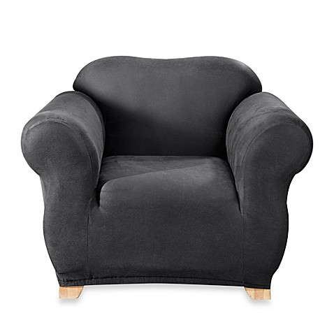 Stretch Leather Black Chair T Cushion Slipcover Bed Bath