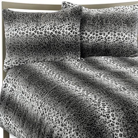 Snow Leopard Faux Fur Full Queen Duvet Cover Set Bed