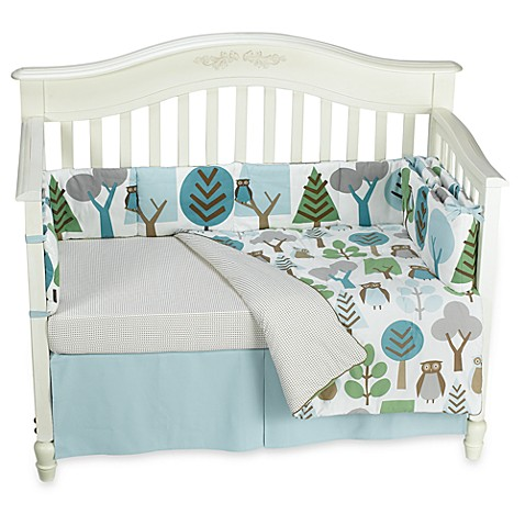 dwellstudio owls sky 4 piece crib set 100 cotton buybuy baby