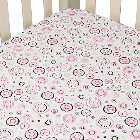 Caden Lane® Classic Collection Crib Sheet in Pink Circle