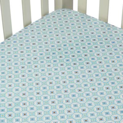Caden Lane® Vintage Collection Crib Sheet in Blue Octagon