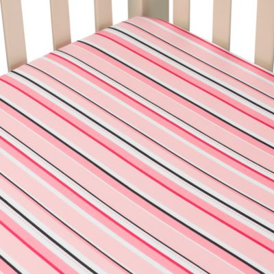 Caden Lane® Luxe Crib Sheet in Sophia Pink Pinstripe