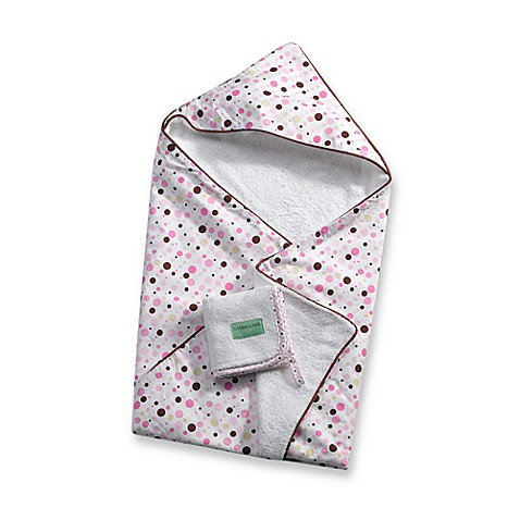 Caden Lane® Infant Hooded Towel in Pink Dot