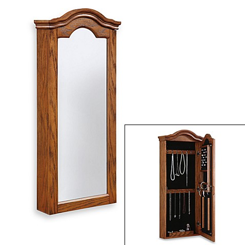 Wall Mountable Antique Oak Finish Jewelry Armoire