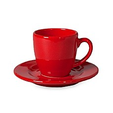Waechtersbach Red Espresso Cup and Saucers (Set of 4)