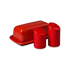 Waechtersbach Red Ceramic Butter, Salt and Pepper Set