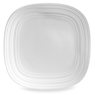 Swirl Square Salad Plate in White