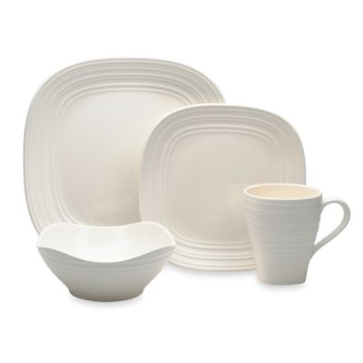 White-On-White Swirl 4-Piece Square Place Setting