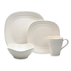 Mikasa Swirl Square 4-Piece Dinnerware Place Setting in White