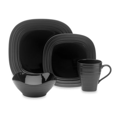 Mikasa Swirl Square 4-Piece Dinnerware Place Setting in Black