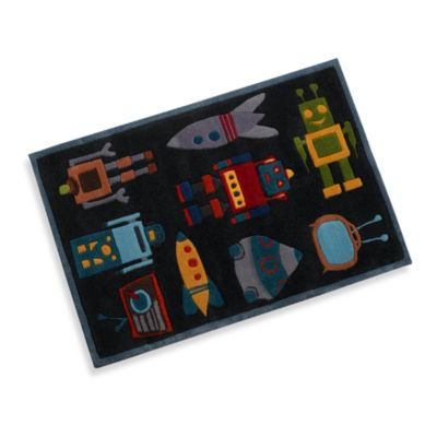 Momeni Lil Mo Robot 2-Foot x 3-Foot Accent Rug in Steel Blue