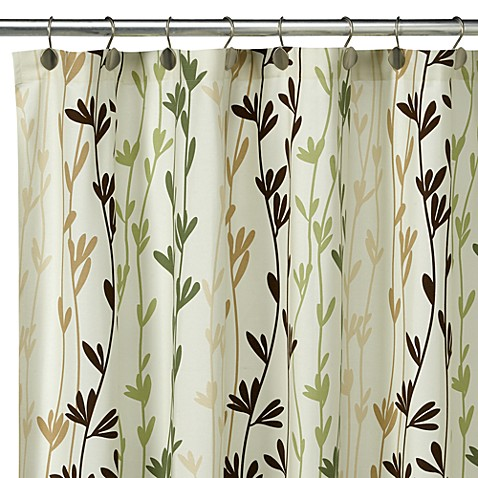 Loft styler eco leaves fabric shower curtain 100 cotton for Loft country shower curtains for the bathroom