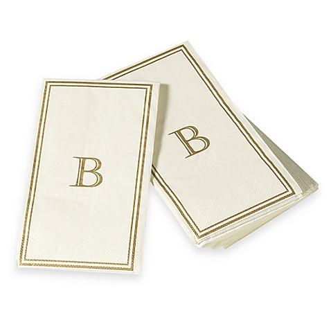 Monogram disposable letter b guest towels bed bath - Disposable guest towels for bathroom ...