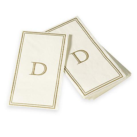 Monogram disposable letter d guest towels bed bath - Disposable guest towels for bathroom ...