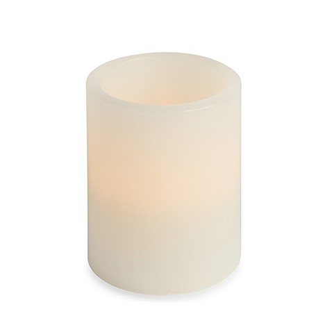 Everlasting Candles Electronic Pillar 3-Inch x 4-Inch Bisque Candle