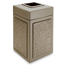 StoneTec™ 38-Gallon Waste Container - Black with Pepperstone - Beige with Riverstone